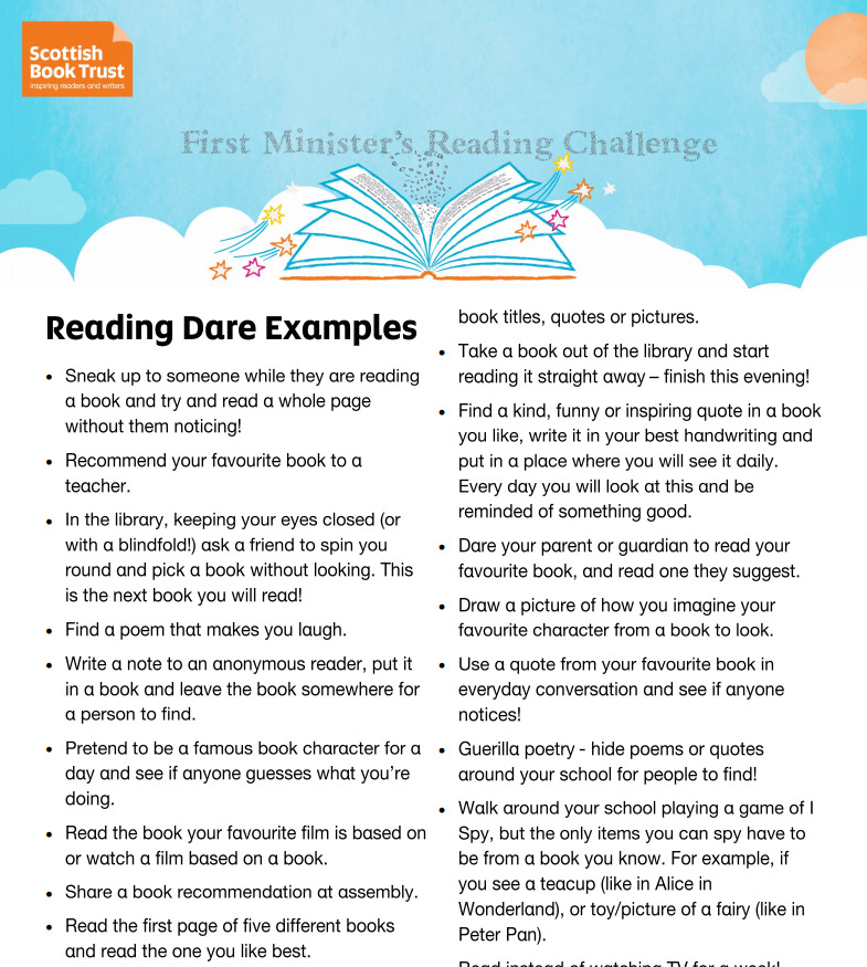 Reading Dares for Pupils