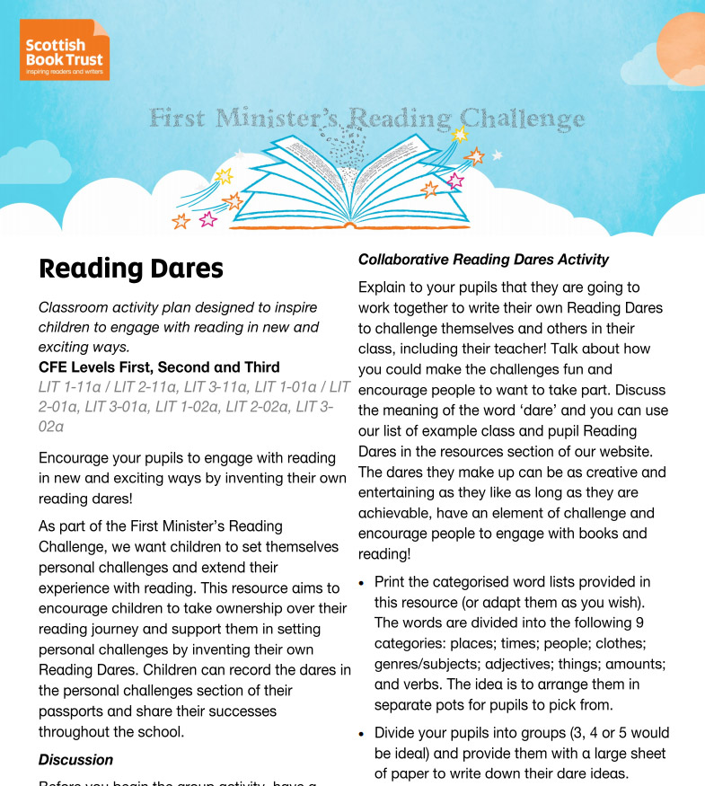 Reading Dares Learning Resource