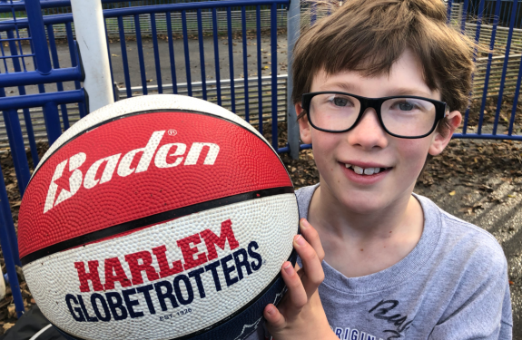 Luke holding a basketball