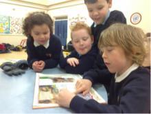 School pupils reading