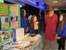 Nicola Sturgeon with students at the FMRC event